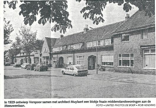 Uit de IJmuider Courant van 21 mei 1992. Correctie onderschrift: de op de foto getoonde woningen zijn niet de middenstandswoningen van Verspoor maar diens arbeiderswoningen.