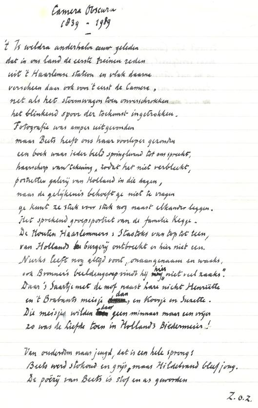 Scan van het originele handschrift: Camera Obscura 1839-1989 door Harry Prenen.
