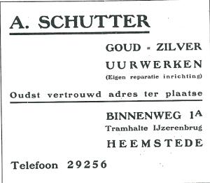 Adv. uit 1927 van A.Schutter, juwelerie, horlogerie