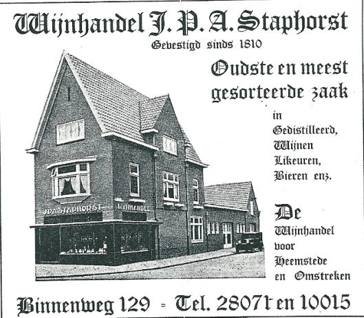 Adv. van wijnhandel Staphorst (1937), Binnenweg 129, Heemstede (daterend uit 1810)