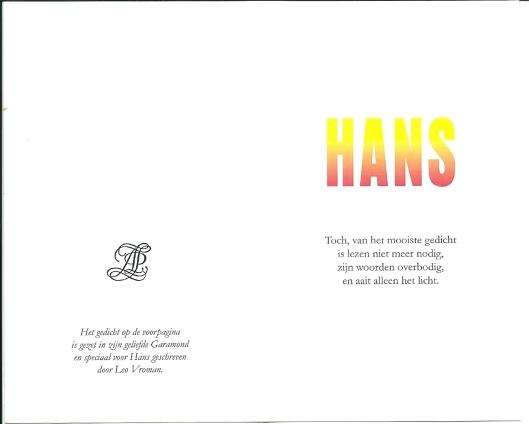IN MEMORIAM HANS ROMBOUTS (1931-2013)