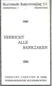 Adv. uit 1931 van Haarlemsche Bankvereeniging, Binnenweg 7