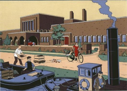 Tekening van Peter van Dongen in serie 'Industrieel Erfgoed' Gebouw voor de Bloembollencultuur, gebouwd in 1924 naar een ontwerp ban architect J.Zietsma, gelegen in Heemstede nabij de grens met Bloemendaal (Bennebroek/Vogelenzang)
