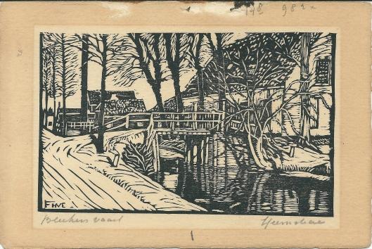 Bleekersvaartweg Heemstede; houtgravure van F.H.van Emmerik