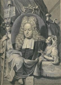 Portret van mr. Jan Trip (1664-1732), hier 51 jaar. Met rechtsonder afbeelding van huize Berkenrode. Anonieme gravure vermoedelijk vervaardigd door Pieter van Gunst