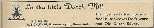 Advertentie Schutter, Binnenweg 11, uit 1953