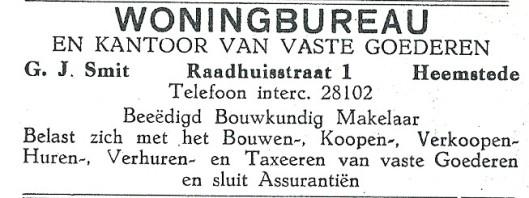 Advertentie woningbureau Smit uit 1927