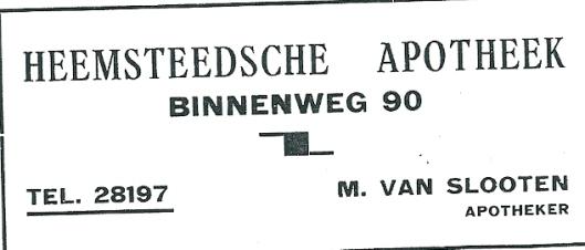 Advertentie Heemsteedse Apotheek uit 1937