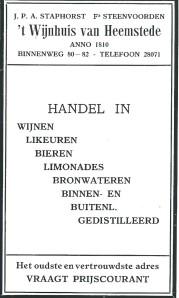 Adv. uit 1931 van 't Wijnhuis van Heemstede anno 1810, Binnenweg 80-2.