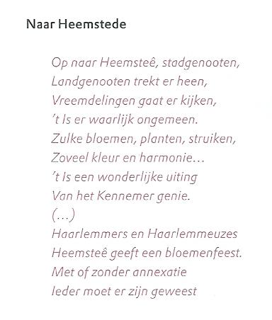 Deel van gelegenheidsvers 'NaarHeemstede' van Koos Speenhof, voor het eerst gepubliceerd in de Opechte Haerlemsche Courant, 28 maart 1925.