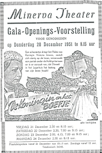 Advertentie van openings-voorstelling in het Minerva theater op 20 december 19151