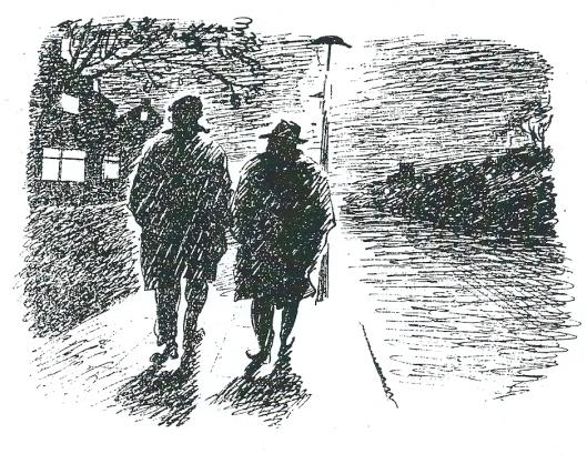 Godfried Bomans (links) en Lodewijk van Deyssel lopen op de Heemsteedse Dreef. Illustratie uit Coebergh-catalogus uit 1947.