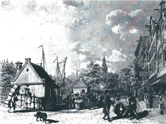 Drukte bij 't Kleereveer op Heemstede in Amsterdam. Tekening van Jacob Cats uit 1797: 'Op de Cingel tusschen de Warmoesgraft en Gasthuys-Molensteeg omtrent het Keteltje' [was aan het Singel tussen de Paleissstraat rn Raadhuisstraat]. Aanvoer met kruiwagens, treksleden en karren van manden met vuile was die met de kleerschippers naar Heemstede werden vervoerd [en schoon retour kwamen. In deze tijd waren o.a. telgen uit het geslacht Berkenrode kleer/veerschipper