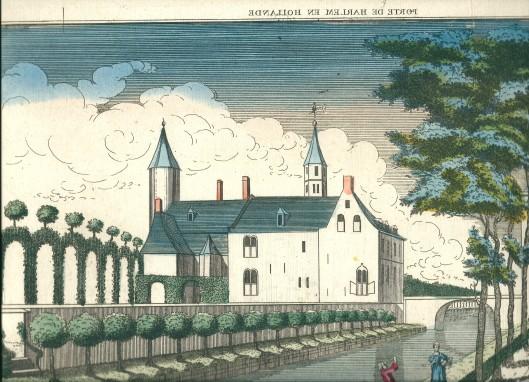 Deel van opticaprent omstreeks 1780 vervaardigd in Parijs bij Basset, voorstellende het slot te Heemstede