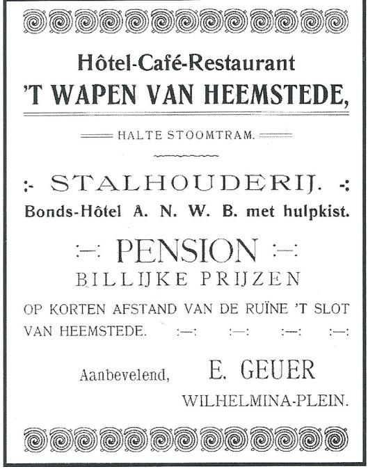 Onder E.Geuer werd 'tv Wapen van Heemstede een bondshotel van de ANWB