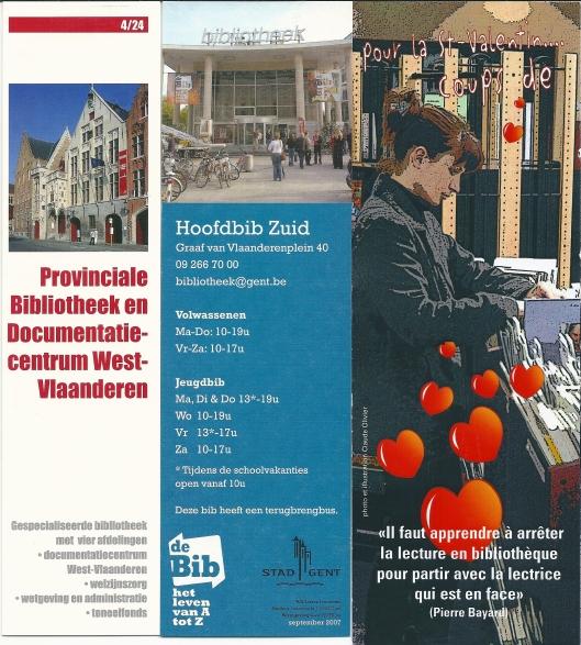 V.l.n.r.; Provinciale Bibliotheek en Documentatiecentrum West-Vlaanderen - Brugge; Hiifdbibliotheek Gent; Médiathèque Ploufragan Frankrijk