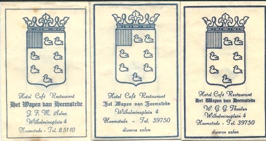 Suikerzakjes van 'Het Wapen van Heemstede' onder leiding van W.G.Thoolen en J.F.M.Aelen