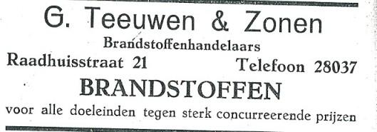 G.Teeuwen & Zonen. Advertentie uit 1927