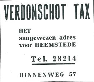 Adv. Verdonschot taxi uit 1937