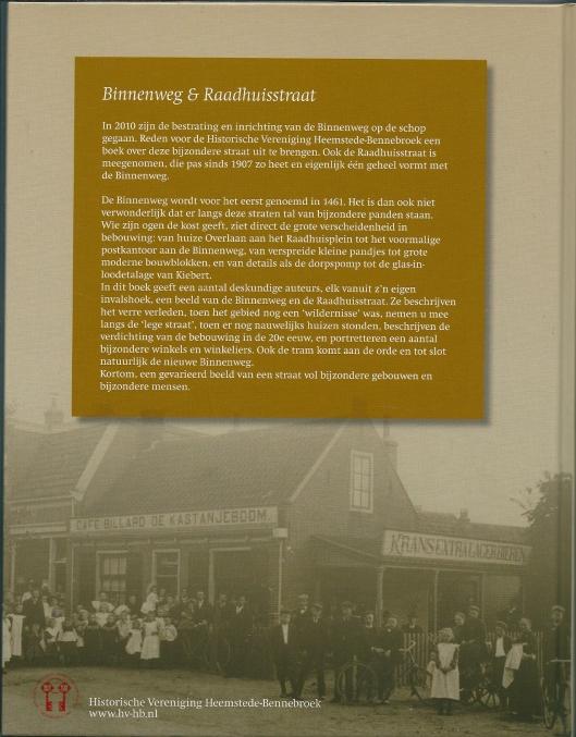 Achterzijde van boek Binnenweg & Raadhuisstraat met oude foto van café-billard 'De Kastanjeboom', destijds gelegen op de hoek van de Binnenweg en Kastanjelaan