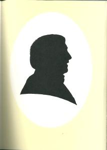Silhouet van Hans Rombouts en profil door Pieter Wetselaar (1995)