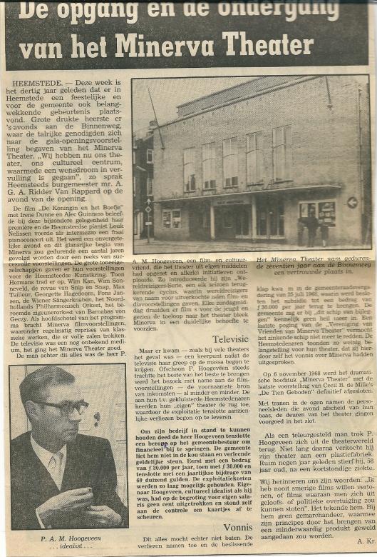 In 1968 kwam een einde aan het Minerva theater. Artikel van journalist Arie Kramer uit de Heemsteedse Koerier van 23 december 1981