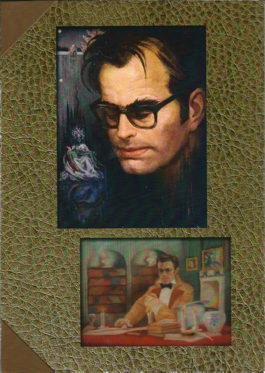 Achterzijde van 'Bomans in Beeld/ . Boven: Godfried Bomans in 1965 naar het leven geschilderd door Aleid Slingerland. Olieverf op linnen. In de achtergrond: 'De Vijvervrouw' uit het gelijknamig sprookje van Bomans. Tot deze afbeelding geïnspireerd door de illustratie van dit sprookje door Alison Korthals Altes in de eerste uitgave van het Godfried Bomans Sprookjesboek. Onder: Godfried Bomans als Charles Dickens. Pastel van Narda Koenen uit 1952. Particuliere collectie.
