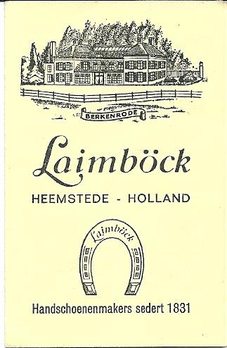 Kaartje van Laimböck waarin wasinstructies in het Nederlands en Engels voor de Pigskinhandschoenen vermeld