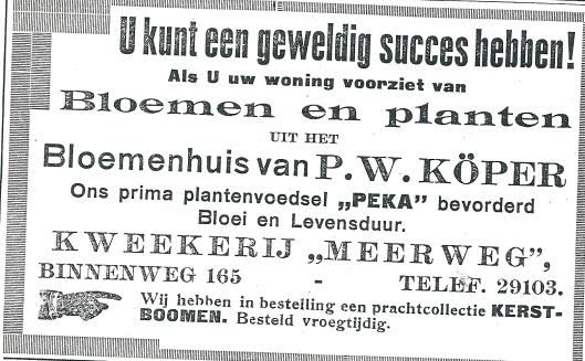 Advertentie van bloemenhuis P.W.Köper in Bennebroek, uit de Heemsteder van 1934