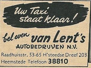 Advertentie Van Lent uit 1953