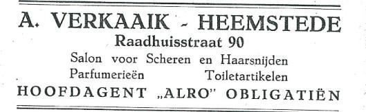 Advertentie A.Verkaaik (1927)