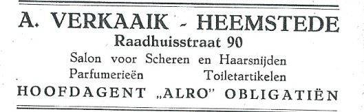 Advertentie A.Verkaaik (1927)