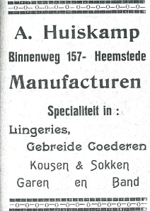Advertentie A.Huiskamp manufacturen (1927)