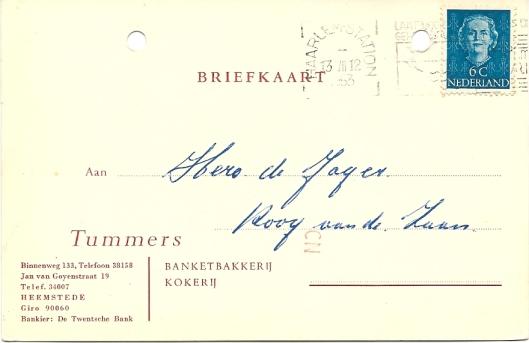 Behalve op het adres Binnenweg 133 had Tummers banketbakkerij en kokerij in de jaren 50 ook een winkel in de Jan van Goyenstraat 19.