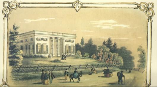Bloemenheuvel, tussen Overveen en Bloemnendaal op een lithoprent uit 1863