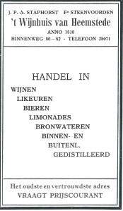 Advertentie van slijterij 't Wijnhuis van Heemstede , J.P.A.Staphorst en firma Steenvoorden