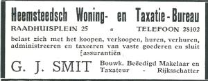 Heemsteedsch Woningbureau G.J.Smit, advertentie uit 1928