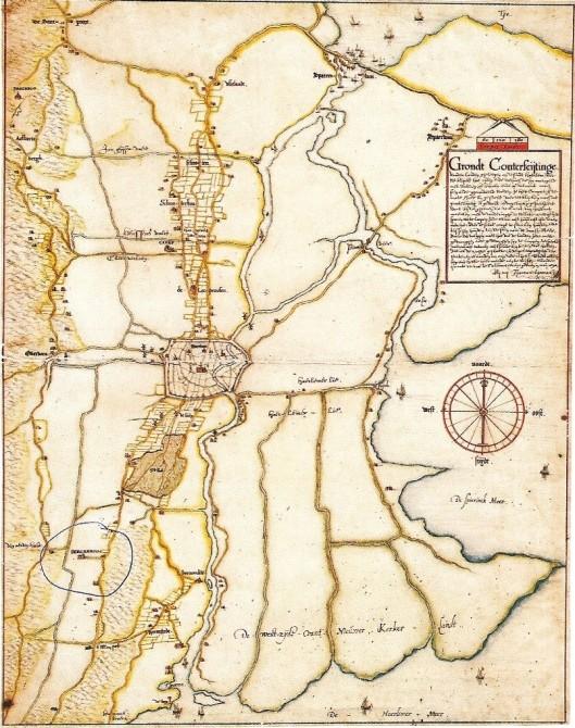 Kaart van Haarlem en omgeving uit 1590 op een schaal van ongeveer 1: 10.000. Omringd = Berkenrode. Daaronder 't Manpad en echts daarvan de heerlijkheid Heemstede