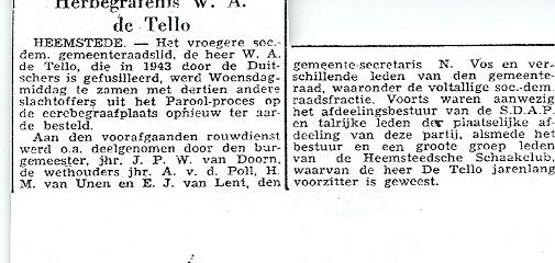 Bericht over herbegrafenis W.A.de Tello uit Het Parool van 20-12-1946