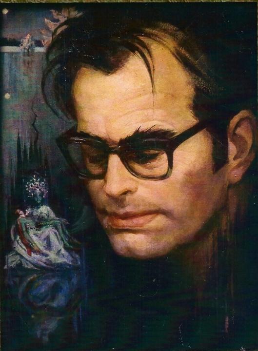 Godfried Bomans in 1965 naar het geschilderd door Aleid Slingerland. In de achtergrond 'De Vijvervrouw' uit het gelijknamige sprookje van Bomans, geïnspireerd door een illustratie van Alison Korthals Altes