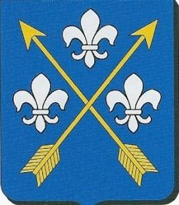 Familiewapen Van Naamen van Scherpenzeel. In blauw twee schuingekruiste gouden pijlen, vergezeld van drie lelies, één boven, en aan weerszijden. (Centraal Bureau voor Genealogie)