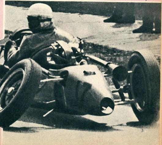 Een angstig moment op hert circuit van Halle. De ophanging van het linker achterwiel had het begeven, terwijl Beels met volle vaart reed.
