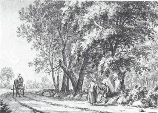 Een marskramer op weg naar Bennebroek even voorbij de Hartekamp. Tekening van J.Goll van Franckenstein die in 1775 door Kennemerland reisde. (Noord-Hollands Archief, Haarlem)