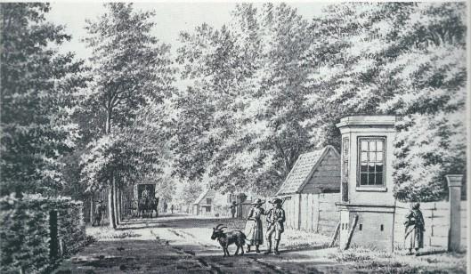 Tekening uit 1795 van de Herenweg langs de Hartekamp richting de Geleerde Man in Bennebroek (Noord-Hollands Archief)