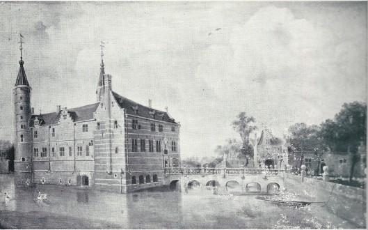 Voorzijde van het slot van Heemstede met de Pons Pacis en linkervleugel. Door N.van Berghem, circa 1646.