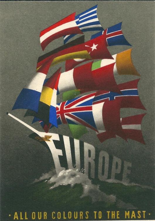 Ansichtkaart van 'Europe: all our colours to the mast', ontworpen door Reijn Dirksen uit Heemstede.
