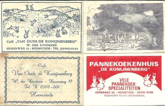 Diverse suikerzakjes van 'de Konijnenberg', Herenweg Heemstede