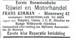 Adv. van Eerste Heemsteedsche Rijwiel- en Motorhandel Frans Kimman
