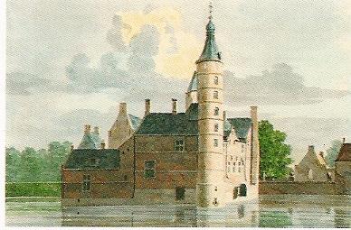 Tekening van het Huis te Heemstede door H.de Winter uit omstreeks 1750 toen het kasteel in eigendom was van de familie pauw geboren Hoeufft.