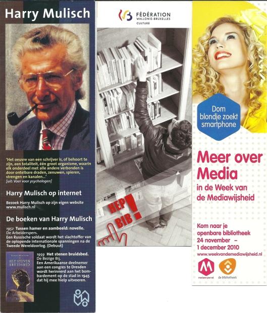 Boekenleggers, v.l.n.r. Harry Mulisch (Biblion, 2000), Bibliothèques Publiques Féderation Wallonië-Bruxelles, Week van de Mediawijsheid 2010
